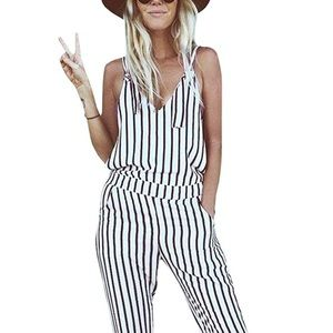 Black & White Pinstriped Jumpsuit